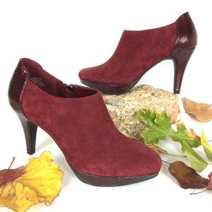 Bandolino Burgundy Genuine Suede Heeled Booties